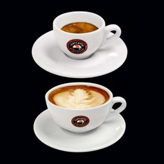 White espresso cup with saucer